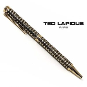 Caneta Ted Lapidus Paris® S5601601D | Ballpoint Retractable Pen Black with Gold Plated Mesh