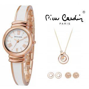 Conjunto Pierre Cardin® PCX6007L257 | Relógio |  Colar | 2 Pares de Brincos