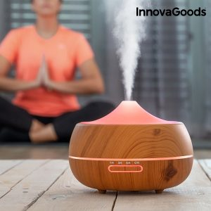 Humidificador Difusor de Aromas LED Wooden-Effect Home Deco