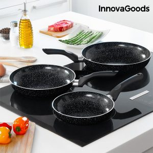 Conjunto de 3 Frigideiras Com Revestimento Efeito Pedra Kitchen Cookware