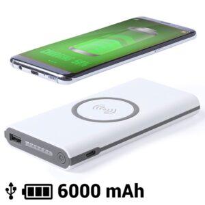 Power Bank sem Fios 6000 mAh LED Micro USB