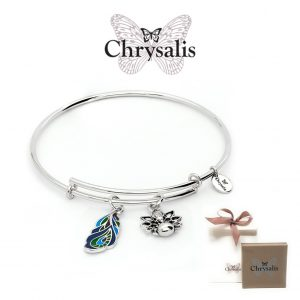 Chrysalis® Peacock Feather Bracelet | Silver | Adaptive Size | With Box or Bag Offer
