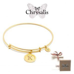 Pulseira Chrysalis® Letter K | Gold | Tamanho Adaptável | Com Caixa ou Saco Oferta