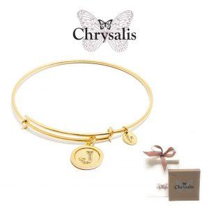 Pulseira Chrysalis® Letter J | Gold | Tamanho Adaptável | Com Caixa ou Saco Oferta