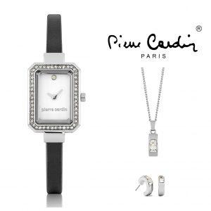 Conjunto Pierre Cardin® PCX6792L293   Relógio   Colar   1 Par de Brincos