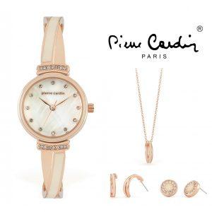 Conjunto Pierre Cardin® PCX6857L295   Relógio   Colar   2 Pares de Brincos