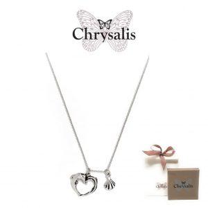 Colar Chrysalis® Haphrodite Heart Rhodium Flash | Silver | 54cm | Com Caixa ou Saco Oferta