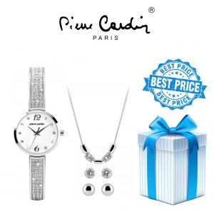Conjunto Pierre Cardin® PCX4690L199 | Relógio | Colar | 2 Pares de Brincos