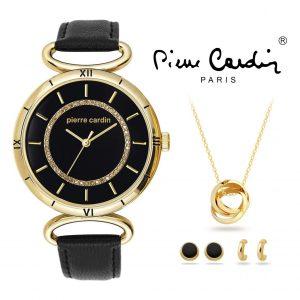 Conjunto Pierre Cardin® PCX6308L268   Relógio   Colar   2 Pares de Brincos