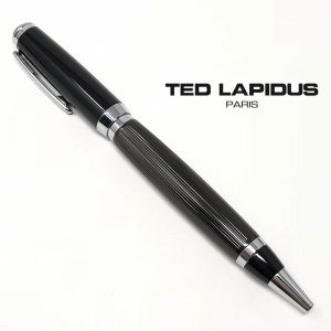 Caneta Ted Lapidus Paris ® S5601002 | Retractable Ballpoint Black Lacquered - Black IP Guilloche Lined Finish Grip