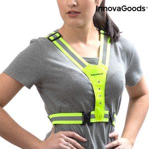 Colete Refletor Com Luz LED Para Desportistas e Caminhantes