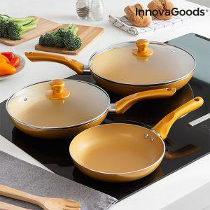 Conjunto 5 Peças | Frigideiras Gold-Effect Kitchen Cookware