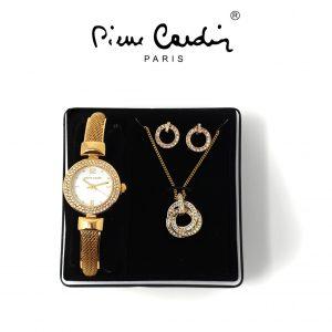Conjunto Pierre Cardin® PCX6305L271   Relógio   Colar   1 Par de Brincos