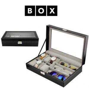 Caixa de Arrumação para 6 Relógios e 3 Óculos | Acabamento Premium | Pele Sintética | Fechadura Com Chave | PD94