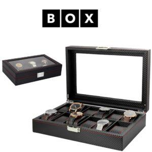 Caixa de Arrumação para 12 Relógios | Acabamento Premium | Pele Sintética | PD48