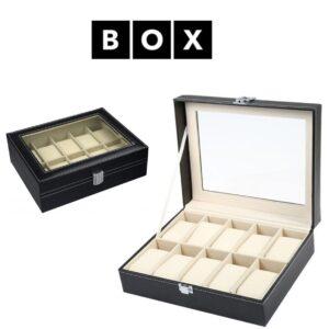 Caixa de Arrumação para 10 Relógios | Acabamento Premium | Pele Sintética | PD33