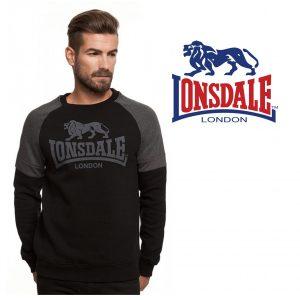 Lonsdale® Sweater Preta e Cinza Escuro | Tamanho M