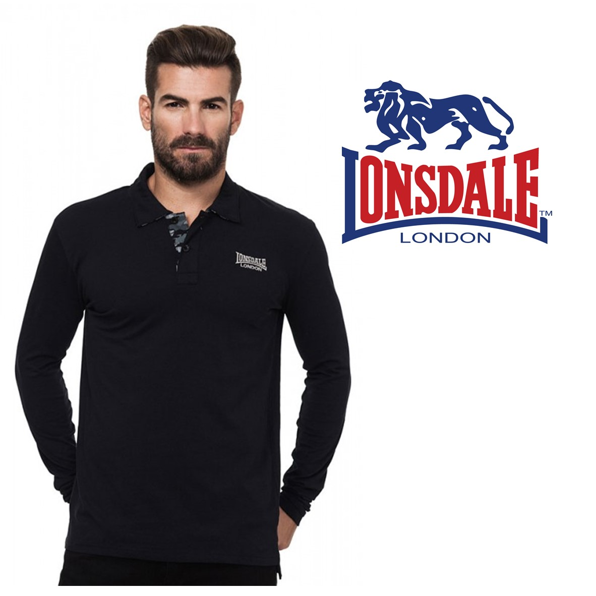 44abf749a24 Lonsdale® Black Polo | Size XL | 100% Cotton - You Like It