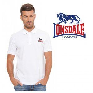 Lonsdale® Polo Branco | Tamanho XL | 100% Algodão