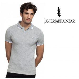 Javier Larrainzar® Polo Cinza | Tamanho XL | 100% Algodão