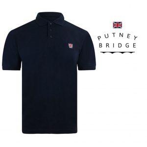 Putney Bridge® Polo Azul Marinho | Tamanho M | 100% Algodão