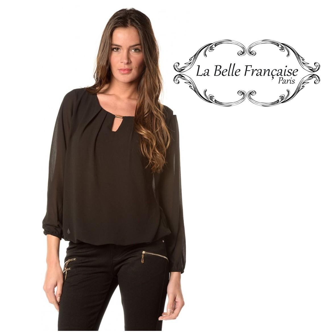 style moderne grande collection 60% pas cher La Belle Française Paris® Blouse Giuliana Preta | Size m