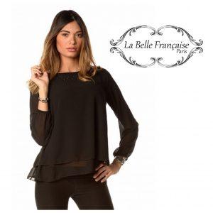 La Belle Française Paris® Blusa Magalie Preto | Tamanho S