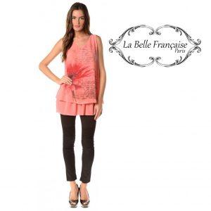La Belle Française Paris® Top Chloe Coral | Tamanho S