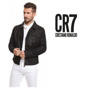 CR7 Cristiano Ronaldo® Casaco Jet Black | 100% Algodão | Efeito Encerado | Tamanho M