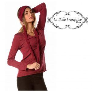 La Belle Française Paris® Camisola Laurence Burgundy | Tamanho M