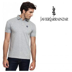 Javier Larrainzar® Polo Cinza | Tamanho M | 100% Algodão
