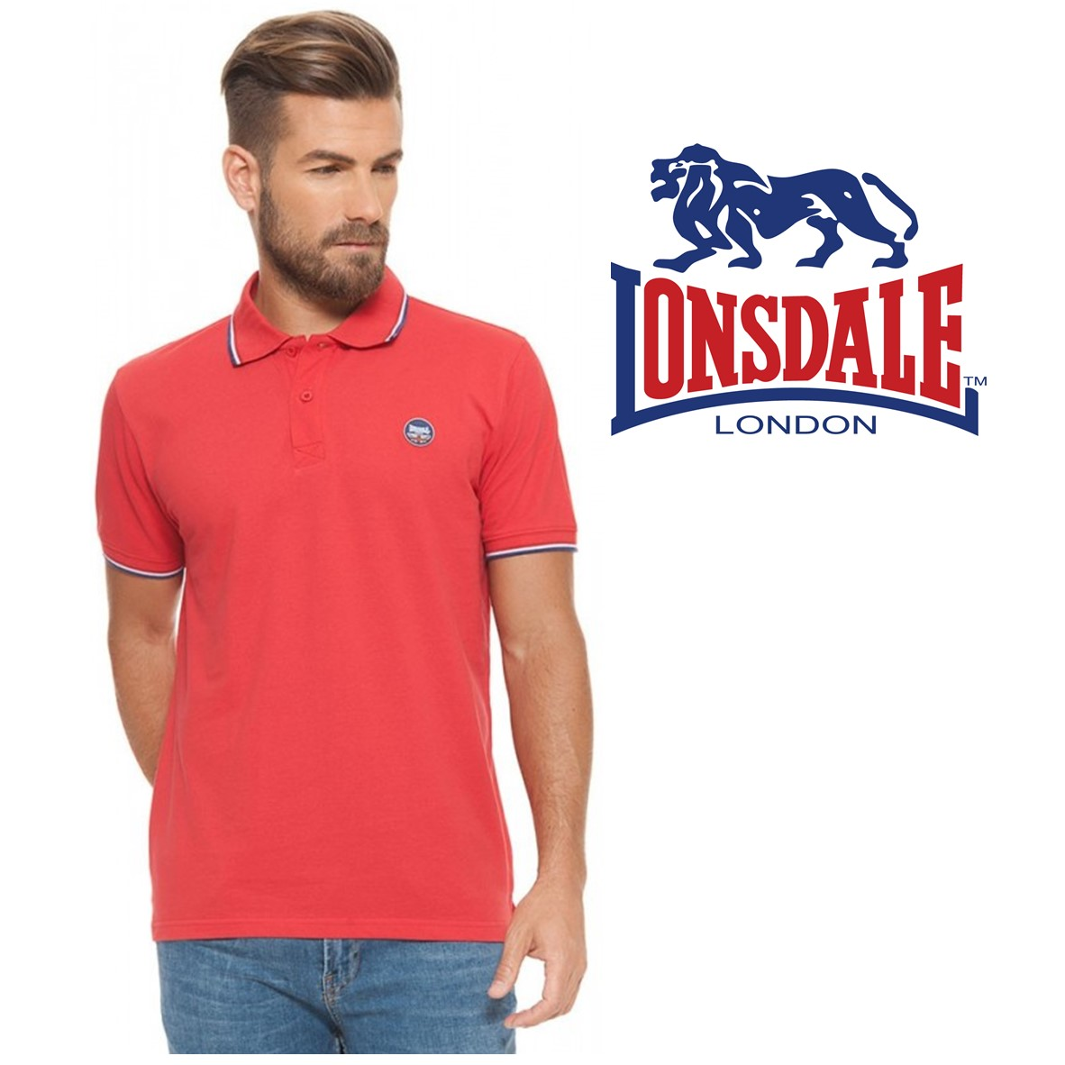 04de6baed41 Lonsdale® Polo True red | Size L | 100% - You Like It