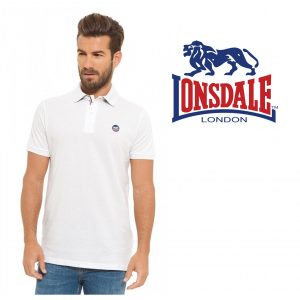 Lonsdale® Polo Branco | Tamanho L | 100% Algodão