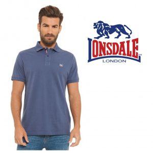 Lonsdale® Polo Azul | Tamanho XL | 100% Algodão