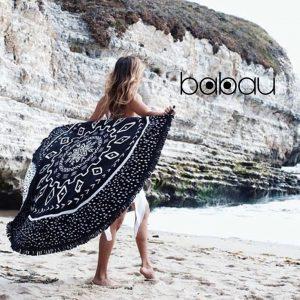 Toalha de Praia Redonda | Mandala Preta | Diâmetro 150 cm
