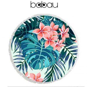 Toalha de Praia Redonda | Flowers | Diâmetro 150 cm