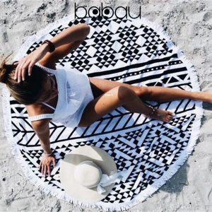 Toalha de Praia Redonda | Mandala Preta e Branca | Diâmetro 150 cm