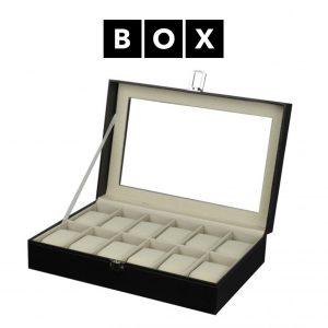 Caixa de Arrumação para 12 Relógios | Acabamento Premium | Pele Sintética | PD34