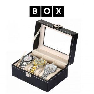 Caixa de Arrumação para 3 Relógios | Acabamento Premium | Pele Sintética | PD81