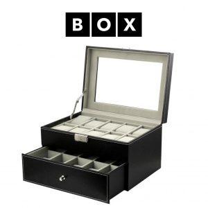 Caixa de Arrumação para 6 Relógios com Gaveta | Acabamento Premium | Pele Sintética | Fechadura Com Chave | PD46
