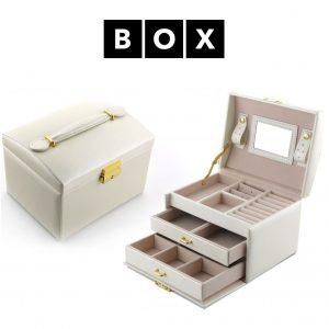 Caixa de Arrumação para Relógios e Jóias | Acabamento Premium | Pele Sintética | Fechadura Com Chave | PD49K