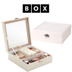 Caixa de Arrumação para Relógios e Jóias com Espelho | Acabamento Premium | Pele Sintética | Fechadura Com Chave | PD58K