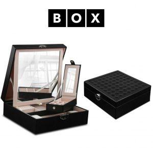 Caixa de Arrumação para Relógios e Jóias com Espelho | Acabamento Premium | Pele Sintética | Fechadura Com Chave | PD58CZ
