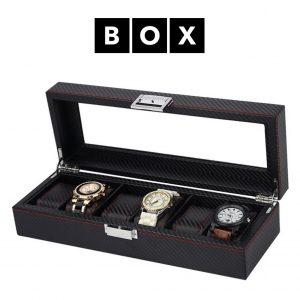 Caixa de Arrumação para 6 Relógios | Acabamento Premium | Pele Sintética | PD59