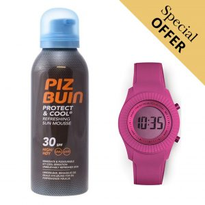 Oferta Especial | Pack Protetor Solar Protect & Cool Piz Buin 30 Spf 150ml e Relógio Digital Extreme Collection® Watermellon!