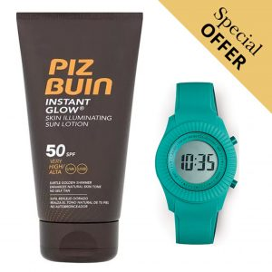 Oferta Especial | Pack Loção Protetor Solar Instant Glow Piz Buin 50 SPF 150 ml e Relógio Digital Extreme Collection® Ice Lolly!