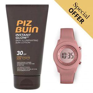 Oferta Especial | Pack Loção Protetor Solar Fluido Instant Glow Piz Buin 30 SPF 150ml e Relógio Digital Extreme Collection® Sunrise!