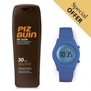 Oferta Especial | Pack Loção Solar In Sun Piz Buin 30 Spf 200ml e Relógio Digital Extreme Collection® Atlantic!