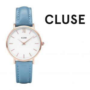 Relógio Cluse® Minuit Rose Gold White/Retro Blue | 33MM