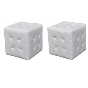 Pouf branco, forma cúbica 2 peças - PORTES GRÁTIS